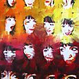 Changing Faces, mixed media painting by Tina Tarnoff