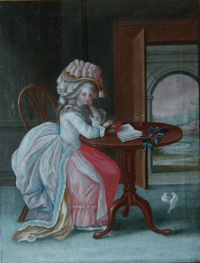 A-Lady-Reading--in-European-Dress--Colonial-Caribbean---probably-Puerto-Rico