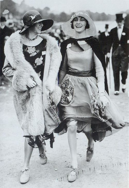 Two fashionable young ladies at the Ascot races, 1928 wyw