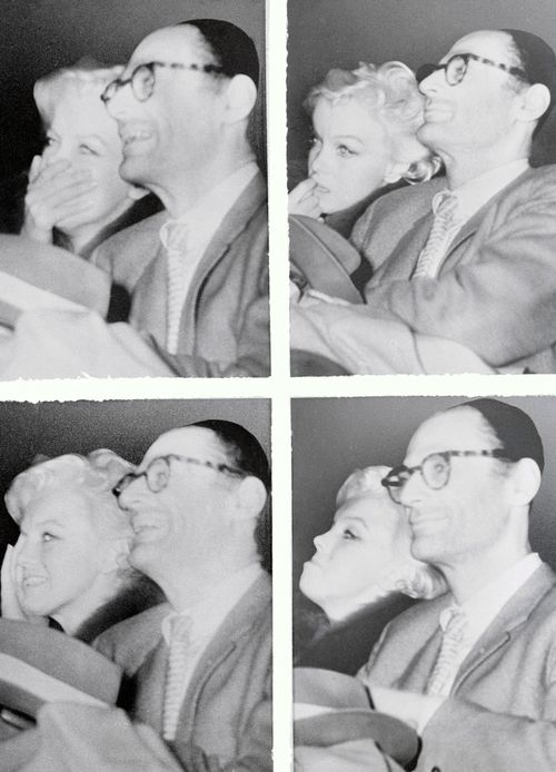 Marilyn Monroe, with Arthur Miller, watches Some Like It Hot, Feb 6, 1959 sb