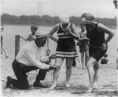 Col. Sherrell, Supt. of Public Buildings and Grounds, has issued an order that bathing suits at the Wash[ington] bathing beach must not be over six inches above the knee… 1922 happy go