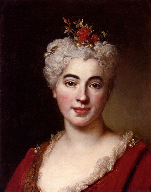 Nicolas De Largilliere 1656-1746 Portrait Of Elisabeth Marguerite - The Artists Daughter