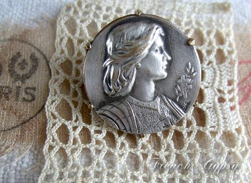 Jeanne d'arc Vintage French Medallion Brooch signed by Lalou