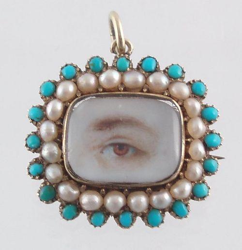 Eye miniature_brown eye_ pearls_ turq1