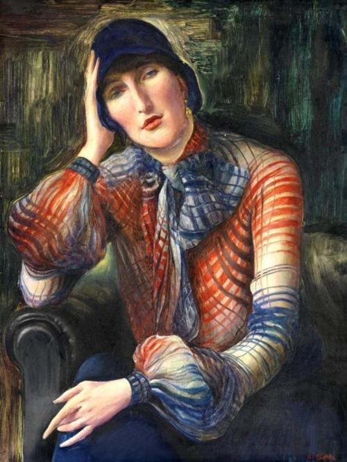 Albert Birckle, Elisabeth Starosta mit Chiffon-Bluse und Hut, 1923