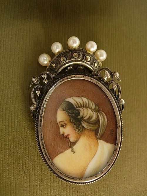 Victorian signed painted portrait under glass brooch with a pearl crown pendant