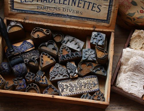 Antique wooden box found at flea markets, antique lace stamp