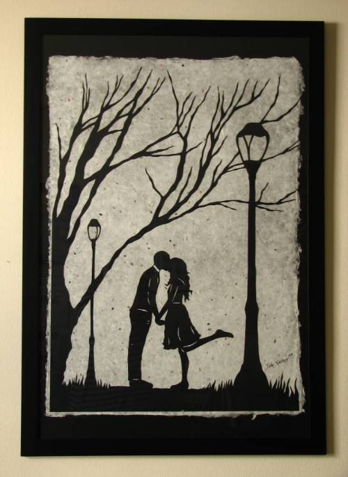 "Autumn Kiss - large original papercut, collectors edition, 27"" x 40"""